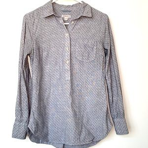 🎉3x$15🎉Merona Blue Tunic Dotted Half Button Up